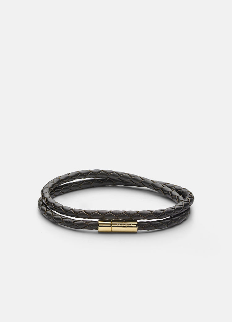 Leather Bracelet | 4mm | Gold | Dark Brown