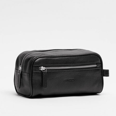 Toiletry Bag | Genova | Black Leather - STOCKHOLM