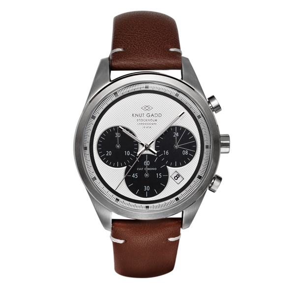 Cult Chrono | Steel | White | Brown Leather Bracelet - STOCKHOLM