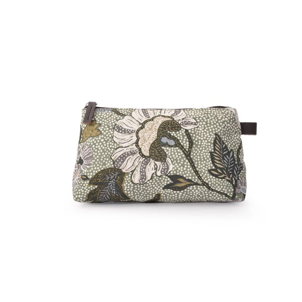 Cosmetic Bag | Linen | Green Flower - STOCKHOLM