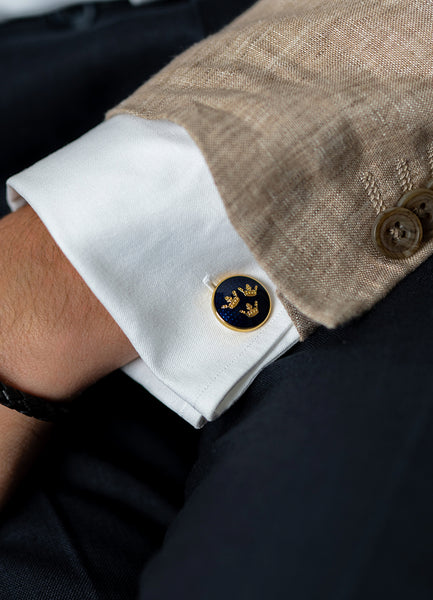 Cufflinks | Three Crowns | Small | Gold - STOCKHOLM