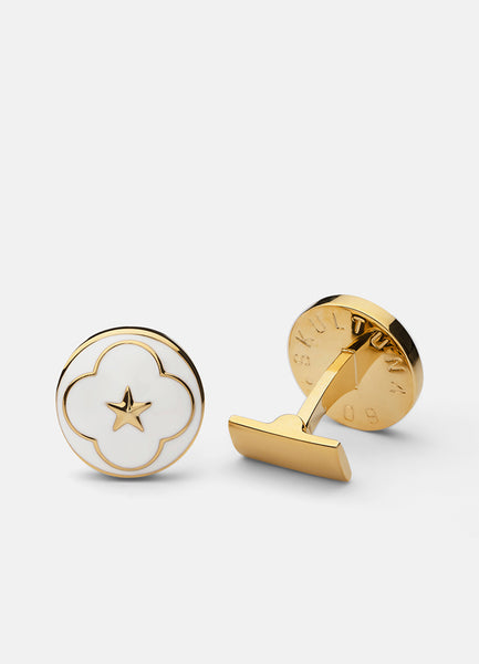 Cufflinks | The Official Wedding Series | Gold | White - STOCKHOLM