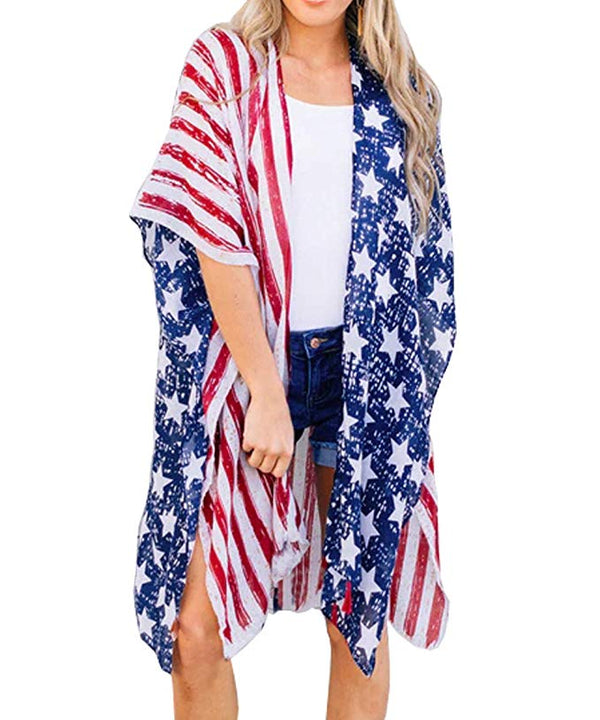 Women's Summer American Flag Beach Cover