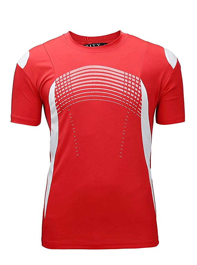 ZITY Men's Big and Tall Short Sleeve Moisture Wicking Athletic T-Shirts(Red,2XL)