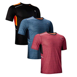 ZITY Men's Sports Running Short Tees,Alipolo Training Printed T Shirt  3PACK( Blue,Red,Black) M