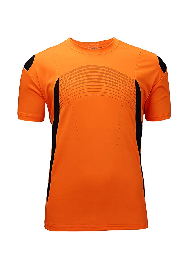 ZITY Men's Moisture-Wicking Sportswear Short Sleeve T-shirt(Orange,XXL)