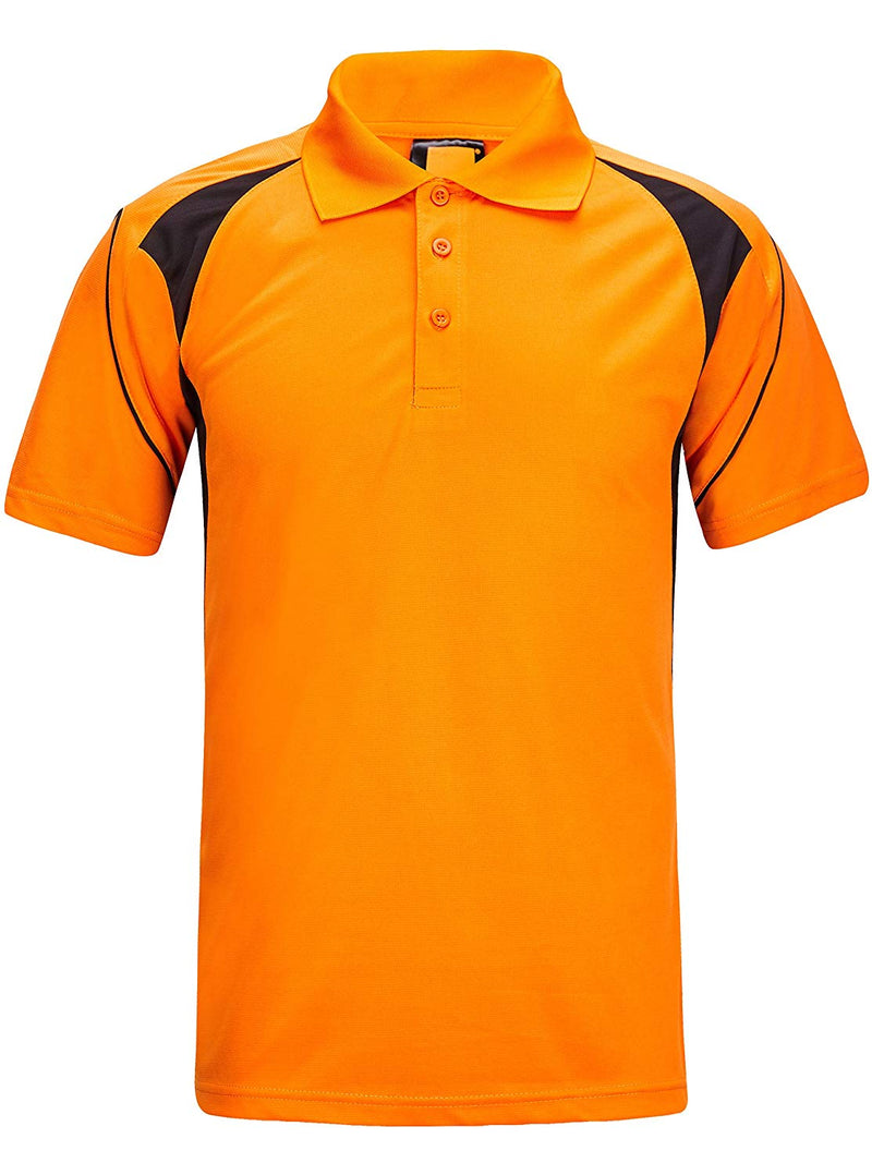 ZITY Athletic Workout T-Shirt for Men Polyester Polo Short Sleeves T-Shirts, Black,blue,orange, Large