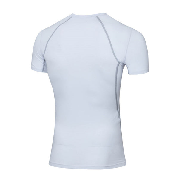 Casual White Soft High Elastic Fit Running Quick Dry Men Sports T-shirts,white,M