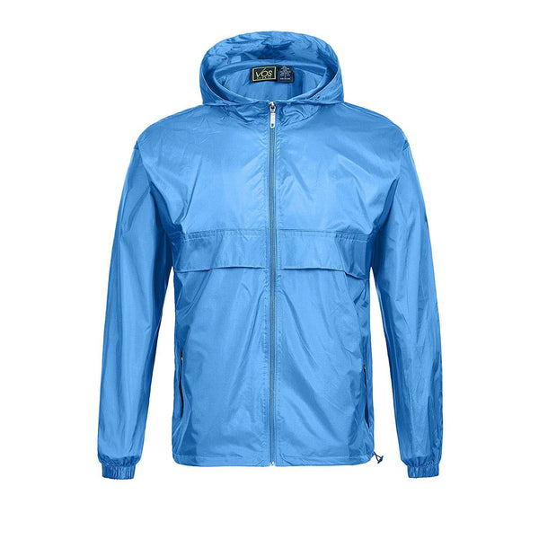 Geek Lighting Mens Waterproof Hooded Rain Jacket Lightweight Packable Raincoat 2