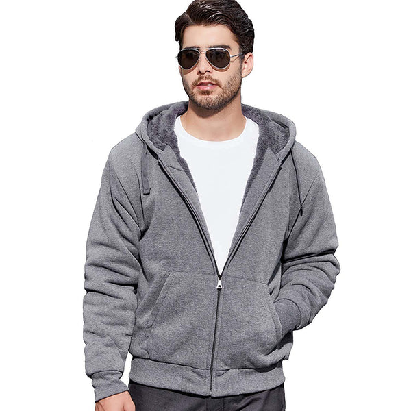 Geek Lighting Mens Zip Up Fleece Hoodies Winter Heavyweight Sherpa Lined Thermal Jackets 1