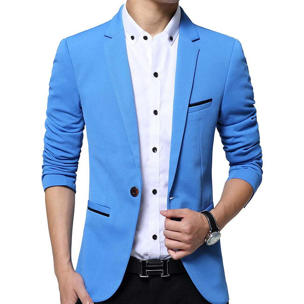Geek Lighting Slim Fit Single One Button Blazer Jackets For Men 2