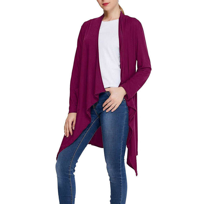 Geek Lighting Womens Solid Color Cardigan Sweaters Open-Front Casual Drape Long Sleeve 6