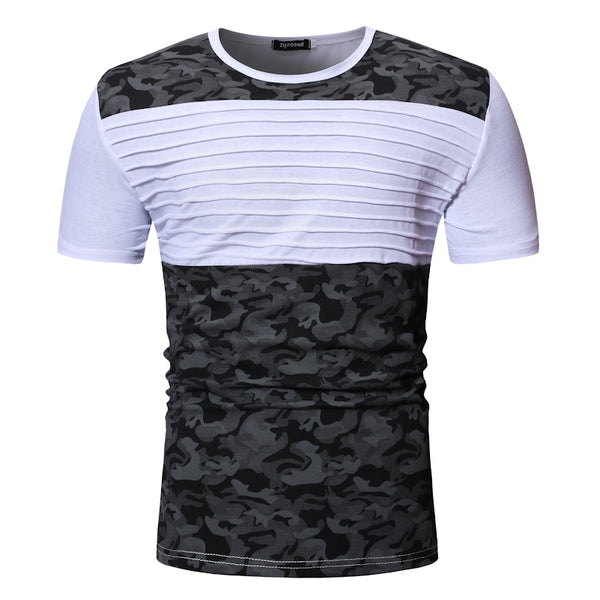 Fashion Camo Men Blouse Casual Sports T-Shirt,WHITE,2XL