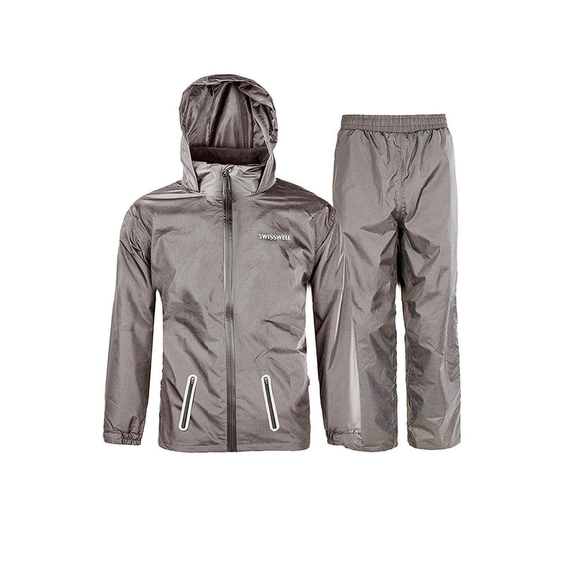 SWISSWELL Rain Suit for Kids Waterproof Hooded Rainwear Jacket Trouser Suit 2