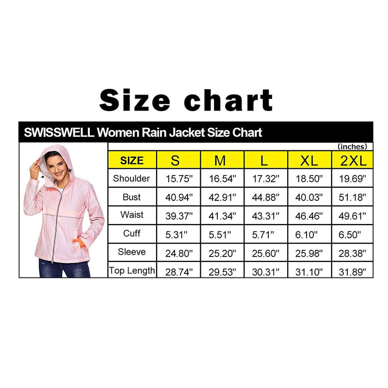 Swisswell Rain Jacket Women Waterproof Lightweight Hooded Raincoat Lined Rainwear 10