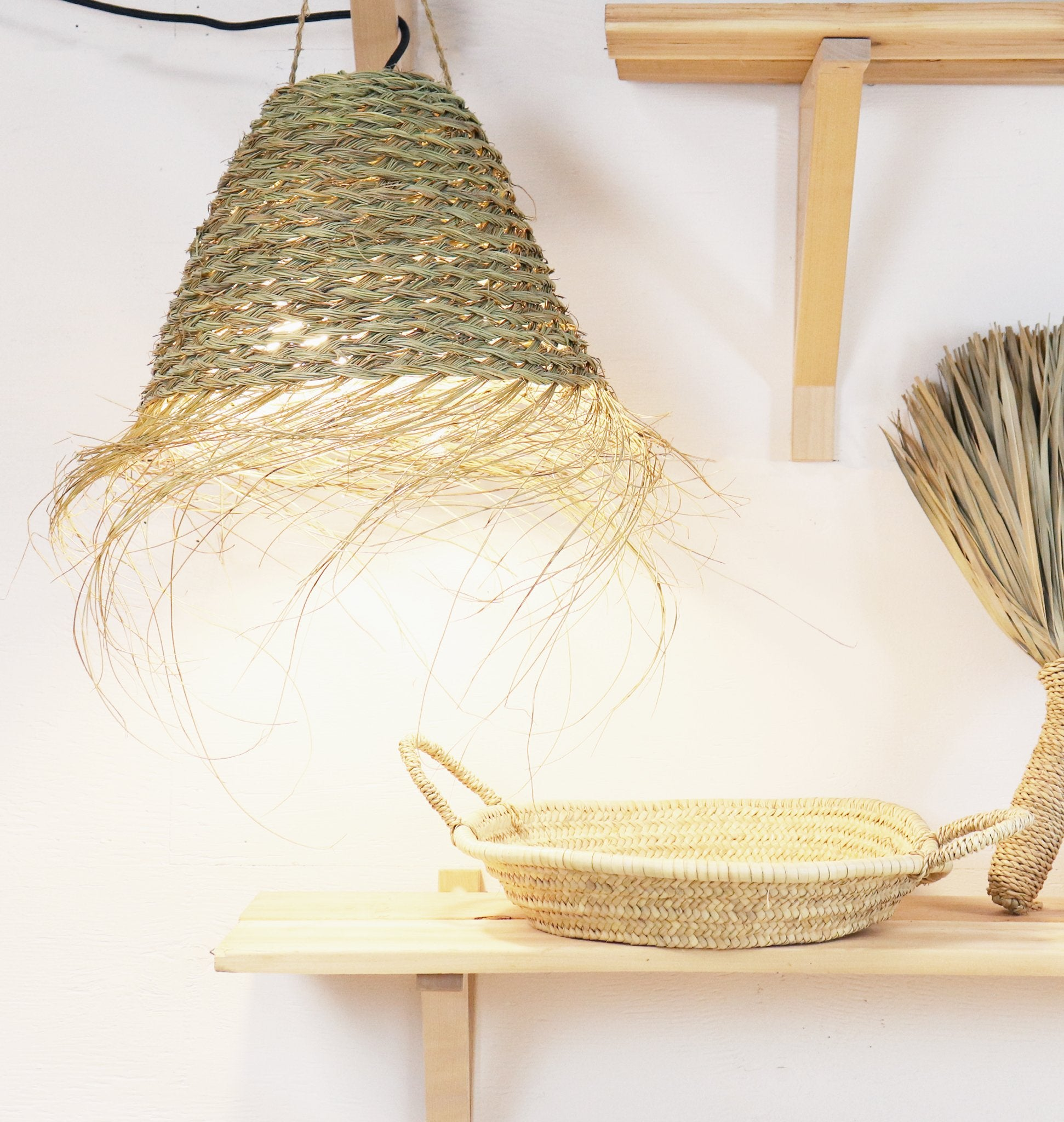 Handwoven  Seagrass Moroccan Lampshade with Fringes