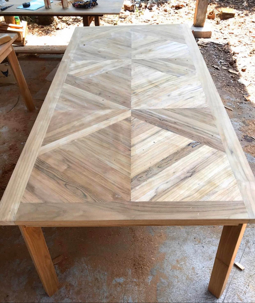 Teak Dinner Table Zig Zag