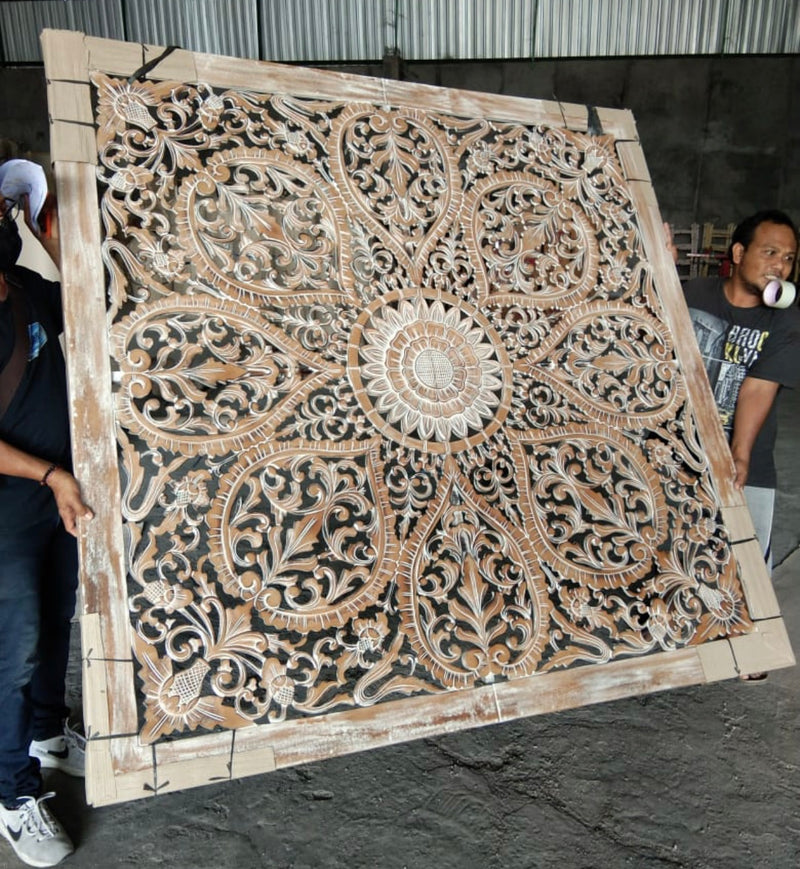White Wash Wood Carving Panel, 79   By 79 inches Wall Art Decor Bohemian Painting Lotus Teak Wood
