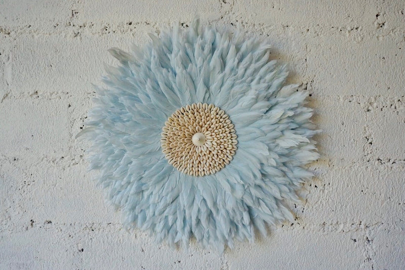 Light Blue Wall Decor Feather & Shell - Deco Wall hanging JUJU HATS