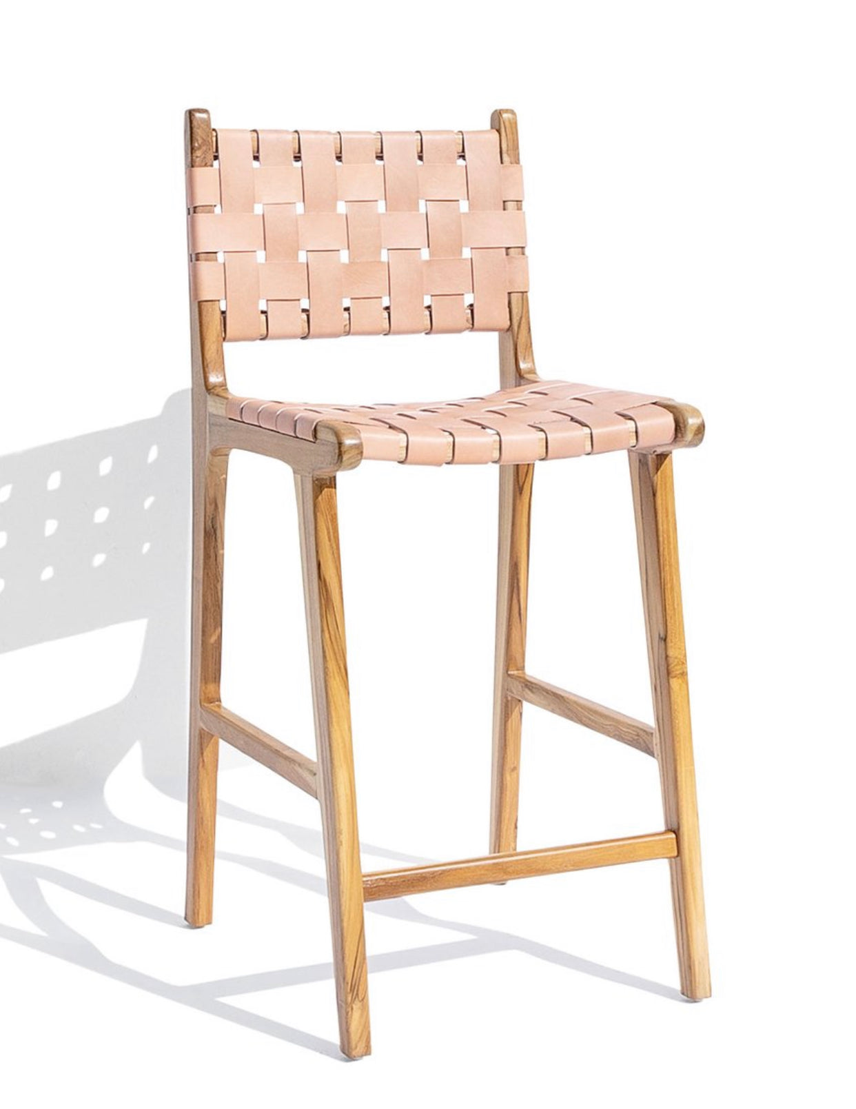 Woven Leather Strap Bar Stool - Nude
