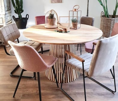 Teak rounded Midcentury Diner Table