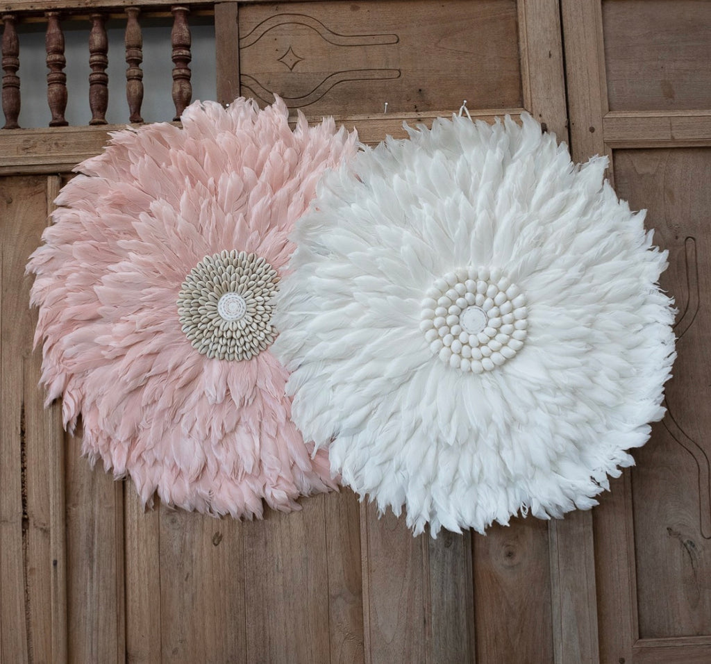 White Wall Decor Feather And Shell - Deco Wall Hanging JUJU HATS