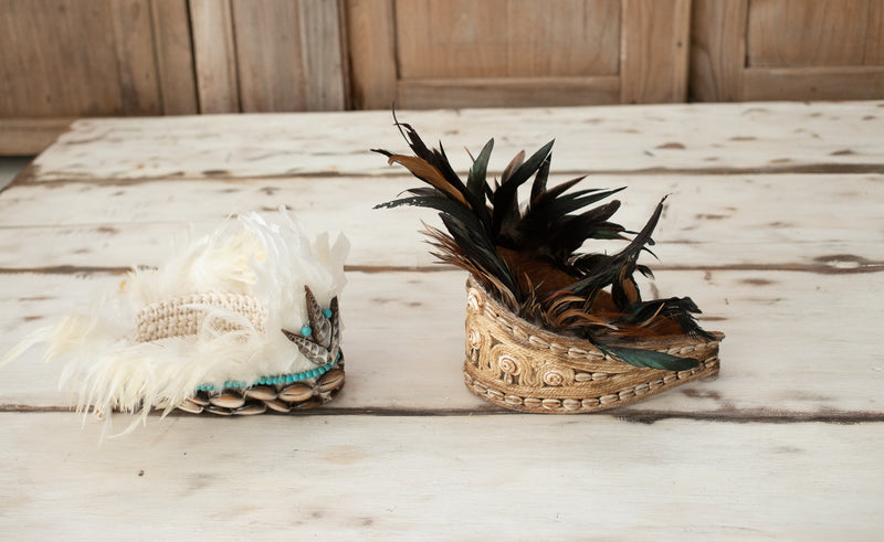 Feather Fur Hat with Shells