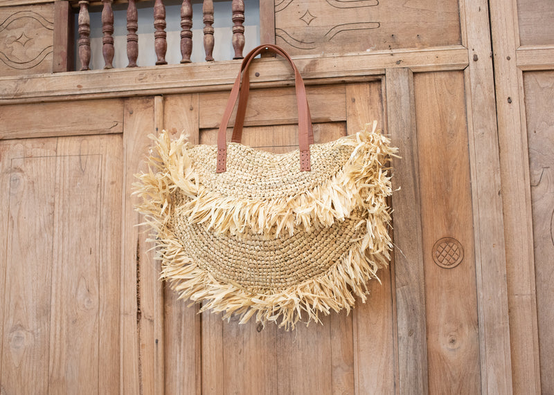 Natural Handwoven Tote Bag with Leather handle