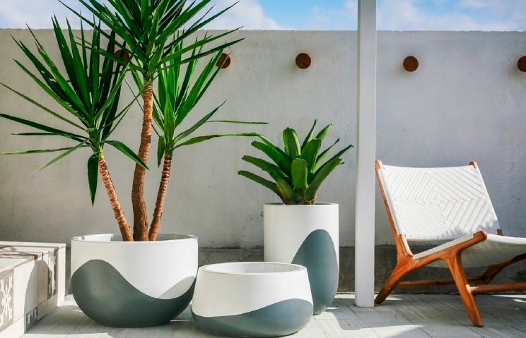 White & Charcoal  Waves Concrete Planters