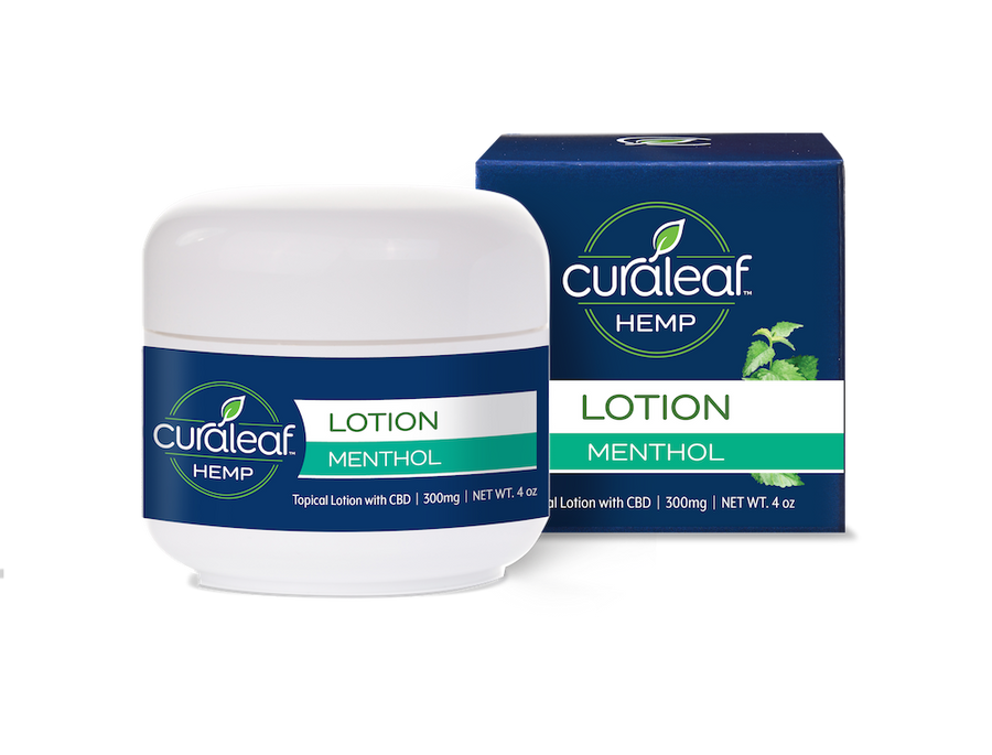 Curaleaf Hemp CBD lotion menthol scented packaging only