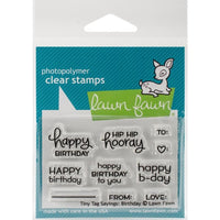 Lawn Fawn - Tiny Tag Sayings Birthday - Clear Stamp Set - Crafty Wizard