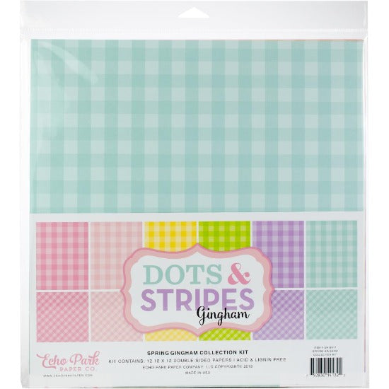 "12"" x 12"" paper pad - Spring Dots & Stripes Gingham"
