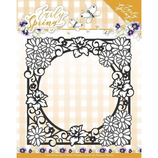 Precious Marieke - Spring Flowers Square Frame Cutting Die - Crafty Wizard