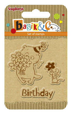 ScrapBerry's Basik's New Adventure - Basik's Birthday - Clear Stamp Set - Crafty Wizard