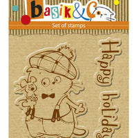 ScrapBerry's Basik's New Adventure - Happy Holiday - Clear Stamp Set - Crafty Wizard