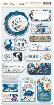 18pcs Blue & Blush chipboard die cuts