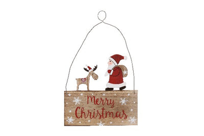 Wooden Merry Christmas Santa and Reindeer Plaque - Crafty Wizard