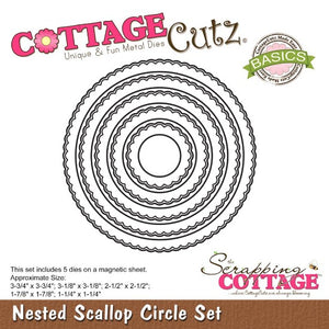 Cottage Cutz - 5pcs Scalloped Edge Nesting Circle Cutting Dies Set - Crafty Wizard