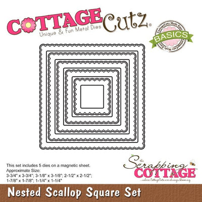 Cottage Cutz - 5pcs Scalloped Edge Nesting Square Cutting Dies Set - Crafty Wizard