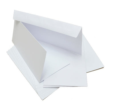 GoatBox 9.9cm x 21cm card base with envelopes - matte white - Crafty Wizard