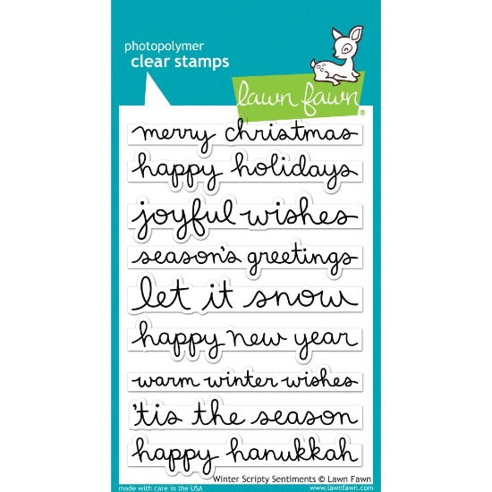 Lawn Fawn - Winter Scripty Sentiments - Clear Stamp Set - Crafty Wizard