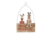 Wooden Merry Christmas Reindeer and Robin Plaque - Crafty Wizard