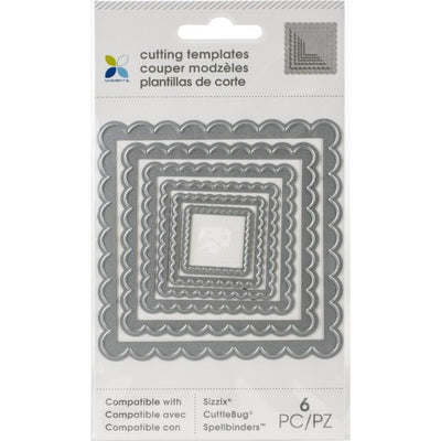 Momenta - 6pcs Scalloped Edge Nesting Square Cut and Embos Dies Set - Crafty Wizard