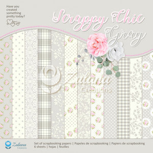 "12"" x 12"" paper pad - Scrappy Chic Grey - Crafty Wizard"