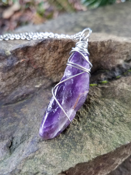 I Am Calm. Amethyst Necklace. Artisan Wire Wrapped Crystal Necklace. Crystal Energy Healing Jewelry.