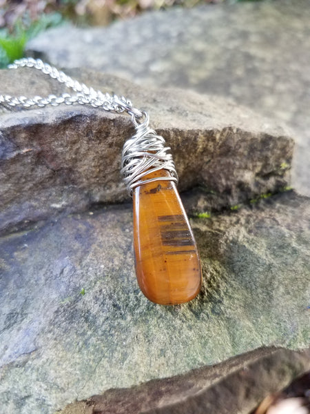 Courage. Tiger's Eye Necklace. Artisan Wire Wrapped Gemstone. Crystal Energy Healing Jewelry.