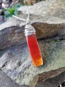 I Am Protected. Red Agate Necklace. Artisan Wire Wrapped Gemstone. Crystal Energy Healing Jewelry.