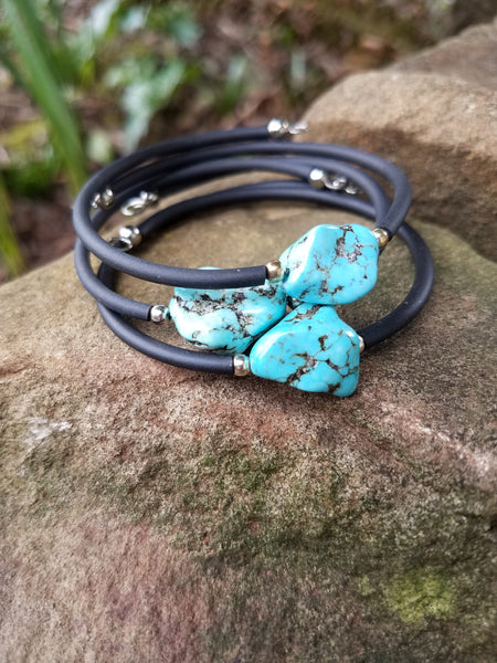 Healer of the Spirit. Turquoise Bracelet. Chakra Gemstone Bangle. Crystal Energy Healing Jewelry.