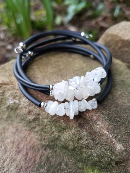 New Beginnings. Moonstone Bracelet. Chakra Gemstone Cuff Bracelet. Crystal Energy Healing Jewelry.