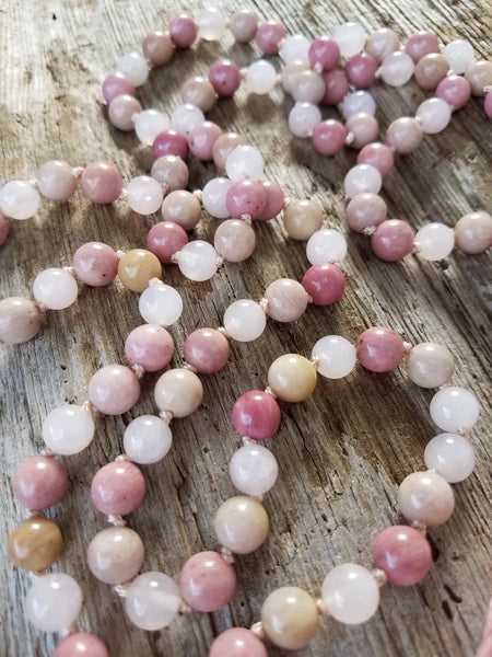 I Am Loved. Rose Quartz & Rhodonite Gemstone Necklace. Full Mala 108 Beads. Energy Healing Jewelry.